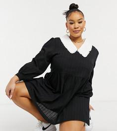 Платье мини с длинным рукавом, контрастным воротником и присборенной юбкой Daisy Street Plus-Черный цвет