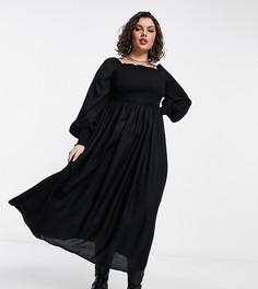 Черное платье макси с длинными рукавами и присборенной отделкой Yours-Черный цвет