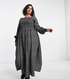 Платье макси с длинными рукавами, спущенными плечами, сборками и многоцветным цветочным принтом Yours-Многоцветный