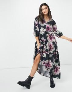 Черное платье миди с цветочным принтом Selected-Черный цвет