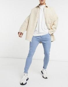 Голубые джинсы супероблегающего кроя Bershka-Голубой