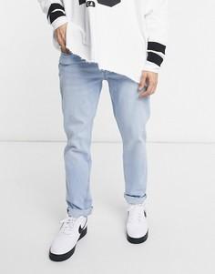 Светло-синие джинсы слим Bershka-Голубой