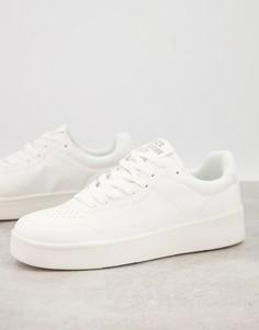 Белые кроссовки на платформе в стиле ретро Bershka-Белый