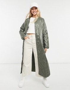 Очень длинное стеганое пальто цвета хаки Only-Зеленый цвет