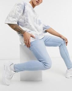 Голубые супероблегающие джинсы Bershka-Голубой