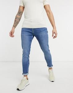 Темно-синие джинсы суперскинни Bershka-Голубой