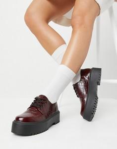 Массивные бордовые ботинки на плоской подошве с крокодиловым принтом ASOS DESIGN Mine-Красный