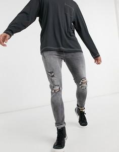 Серые супероблегающие джинсы со рваной отделкой Bershka-Серый