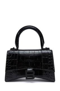 Черная сумка из кожи Hourglass XS Balenciaga