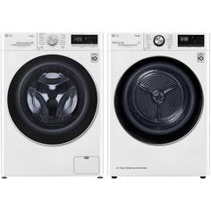 Комплект стиральной и сушильной машины LG F4V5VS0W + DC90V9V9W