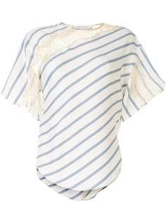 Cédric Charlier полосатая футболка с кружевными вставками