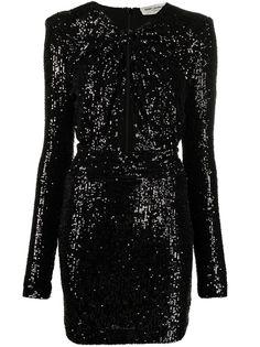 Saint Laurent платье с длинными рукавами и пайетками