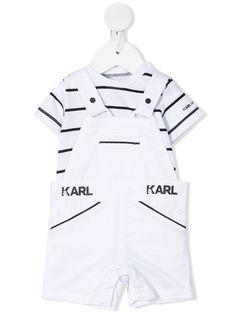 Karl Lagerfeld Kids комплект из футболки и комбинезона в полоску