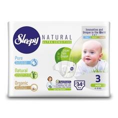 Подгузники Sleepy Natural Organic Baby Diaper (4-9 кг) шт.