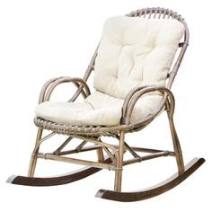 Кресло-качалка Rattan grand medium brown с подушками