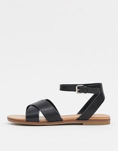 Черные двусоставные сандалии с перекрестным плетением Aldo-Черный