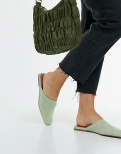 Мюли шалфейно-зеленого цвета с квадратным носом ASOS DESIGN Lulu-Зеленый цвет