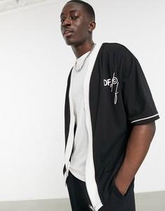 Черная сетчатая бейсбольная футболка в стиле oversized на молнии с логотипами ASOS Dark Future-Серый