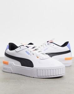 Белые кроссовки с оранжевыми вставками PUMA Cali Sport-Оранжевый цвет