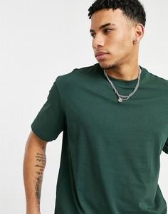 Зеленая футболка в стиле oversized из плотного материала Selected Homme-Зеленый цвет