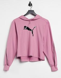 Спортивный розовый худи с черным блестящим логотипом PUMA-Розовый цвет