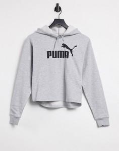 Серый укороченный худи с логотипом PUMA Elevated