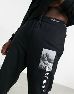 Черные джоггеры в стиле oversized с изображениями и логотипами от комплекта ASOS Dark Future-Черный цвет