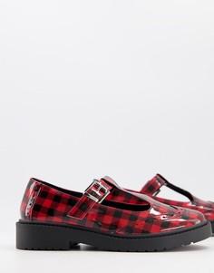 Туфли в стиле Мэри Джейн в красную клетку на плоской массивной подошве ASOS DESIGN Maisie-Красный