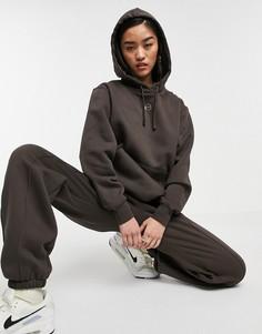 Худи темно-коричневого цвета с металлизированным логотипом-галочкой Nike-Многоцветный