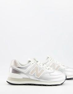 Серебристые кроссовки New Balance 574-Серебристый