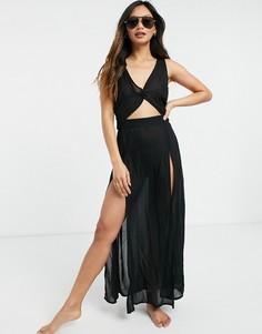 Черное пляжное платье макси свырезами Esmee Esmee-Черный цвет Esmée