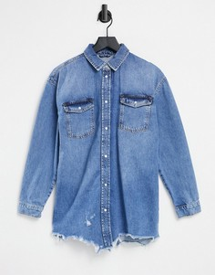 Светло-синяя джинсовая рубашка с необработанным краем River Island-Голубой
