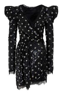 Асимметричное платье мини с пайетками Amen