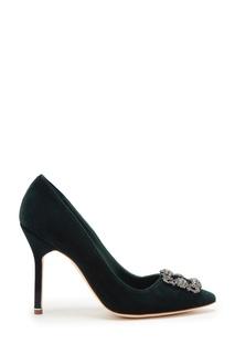 Зеленые туфли-лодочки из бархата Hangisi 105 Manolo Blahnik