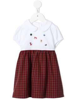 Familiar клетчатое платье с вышивкой