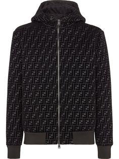 Fendi куртка на молнии с капюшоном и логотипом FF