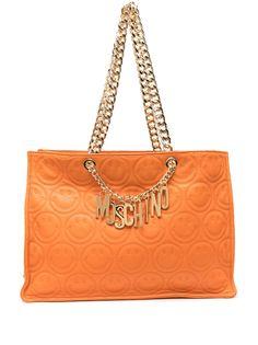 Moschino стеганая сумка-тоут с логотипом