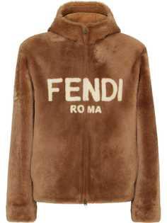 Fendi короткая шуба из овчины с капюшоном и логотипом