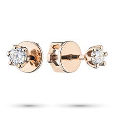 Пусеты из золота с бриллиантом э0201пс04202991 ЭПЛ Якутские Бриллианты