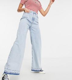 Голубые выбеленные джинсы с очень широкими штанинами Stradivarius Tall-Голубой