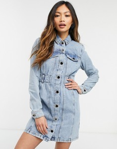Голубое джинсовое платье мини споясом River Island-Голубой