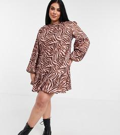 Коричневое платье с присборенной юбкой и тигровым принтом Chi Chi London Plus-Коричневый цвет