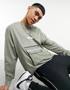 Свитшот цвета хаки с круглым вырезом Nike City Made Pack-Зеленый цвет