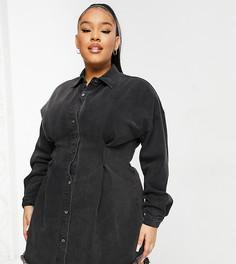 Черное джинсовое платье с корсетной вставкой на поясе Missguided Plus-Черный цвет