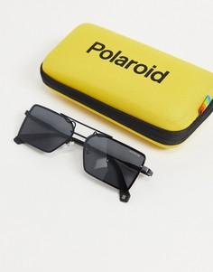 Солнцезащитные очки в стиле унисекс с квадратными линзами Polaroid-Черный цвет