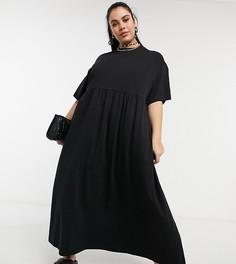 Черное платье с присборенной юбкой макси COLLUSION Plus-Черный цвет