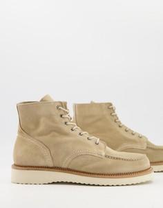 Бежевые замшевые ботинки на толстой подошве Selected Homme-Нейтральный