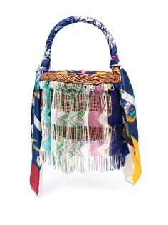 Missoni соломенная сумка-ведро в стиле колор-блок