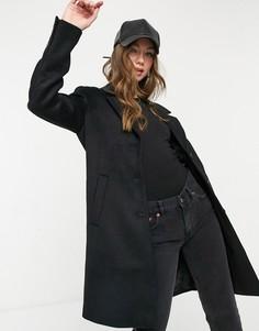 Черное классическое пальто из смесовой шерсти Selected-Черный цвет