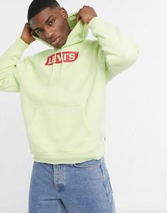 Худи свободного кроя нежно-лаймового цвета с логотипом Levis Youth-Зеленый цвет